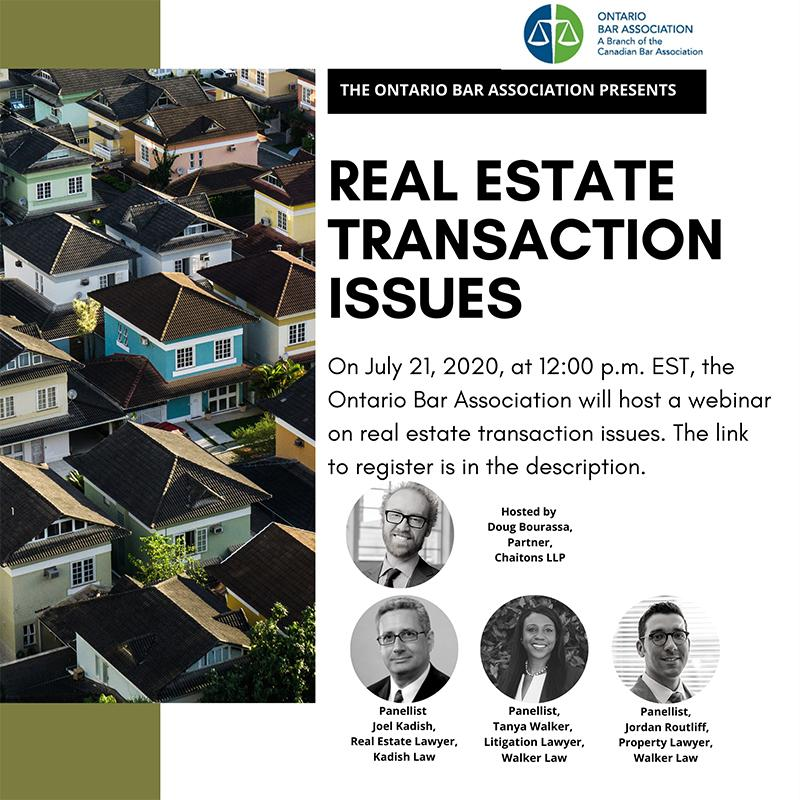 Real Estate Transaction Issues - Webinar