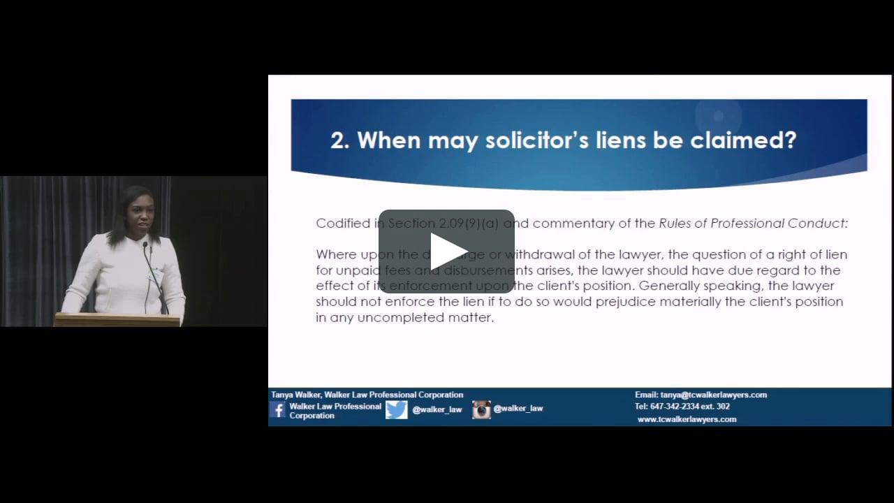 Ontario Bar Association – Co-Presenting on Solicitors Liens with Peter Carey on March 1, 2016
